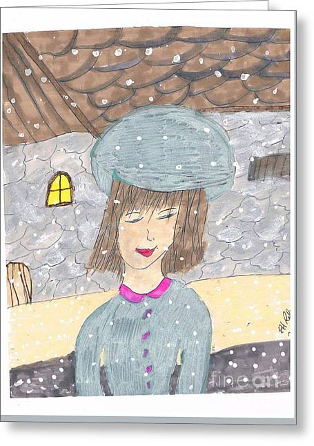 Stone House Mixed Media Greeting Cards - Maddy Greeting Card by Elinor Rakowski