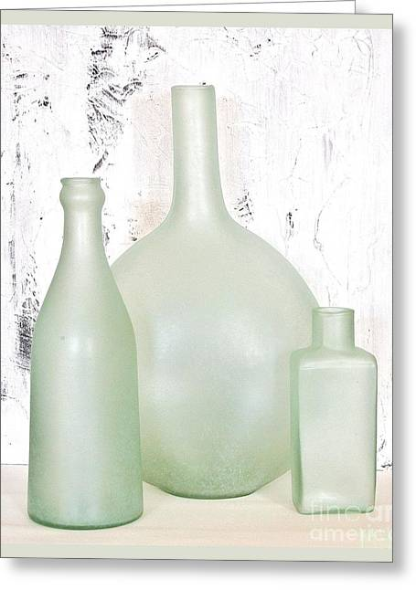 Hand Made Greeting Cards - Made in India Sea Glass Bottles Greeting Card by Marsha Heiken
