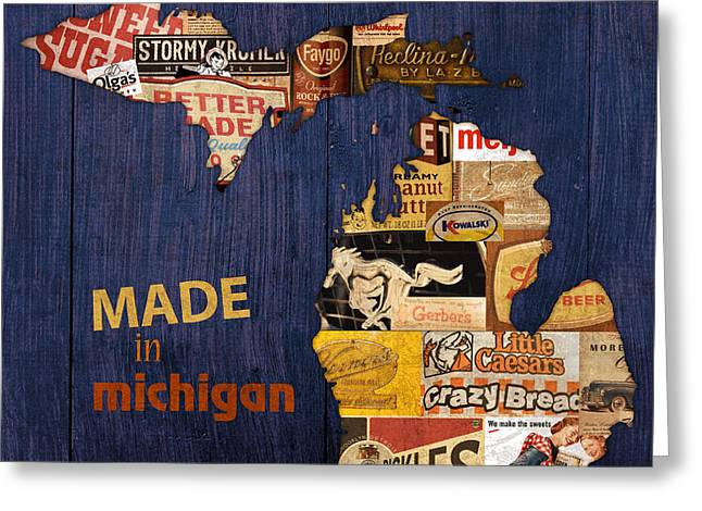 Made In Michigan Products Vintage Map On Wood Greeting Card by Design Turnpike