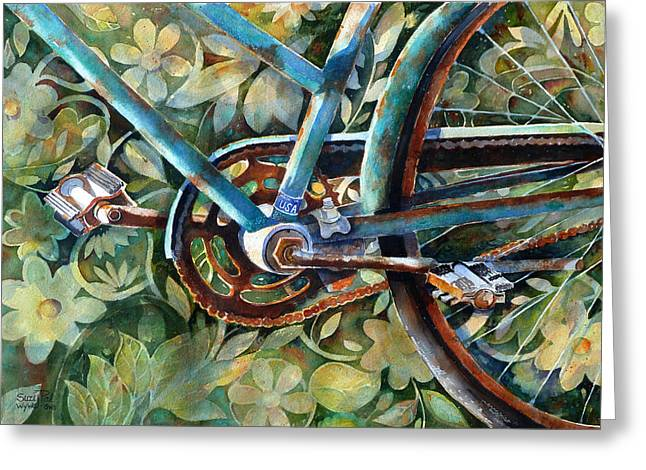 Bicycling Greeting Cards - Made in the USA Greeting Card by Suzy Pal Powell