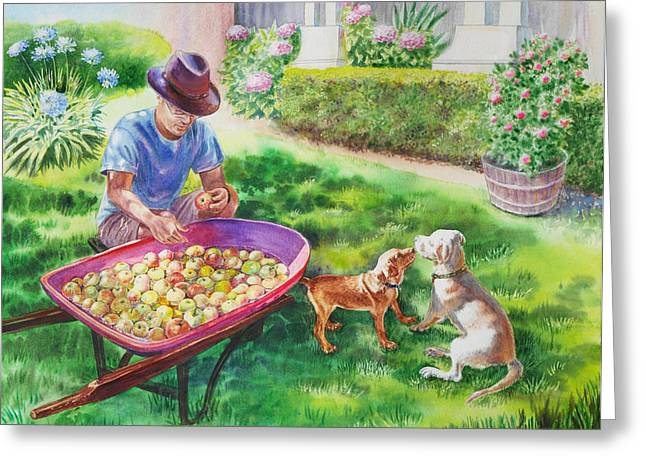 Apple Picking Greeting Cards - Made In USA Greeting Card by Irina Sztukowski
