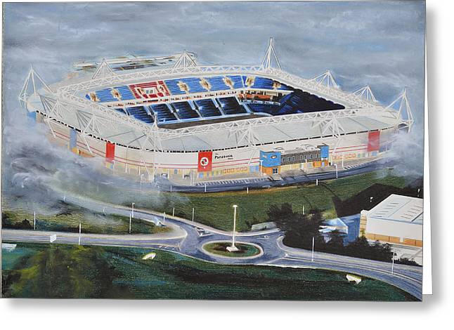 Reading Greeting Card Greeting Cards - Madejski Stadia Art - Reading FC Greeting Card by Brian Casey
