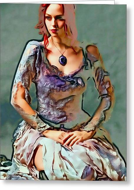 Photomanipulation Paintings Greeting Cards - Madeline Greeting Card by Nikola Durdevic
