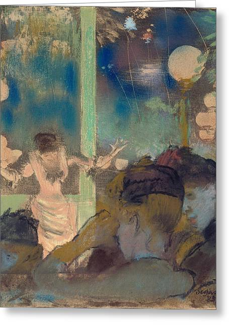 Gestures Greeting Cards - Mademoiselle Becat at the Cafe des Ambassadeurs Greeting Card by Edgar Degas