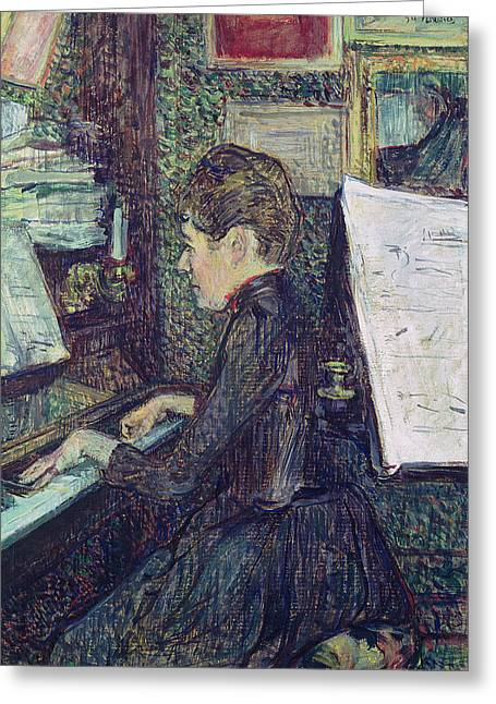 Three-quarter Length Greeting Cards - Mademoiselle Dihau 1843-1935 At The Piano, 1890 Oil On Canvas Greeting Card by Henri de Toulouse-Lautrec