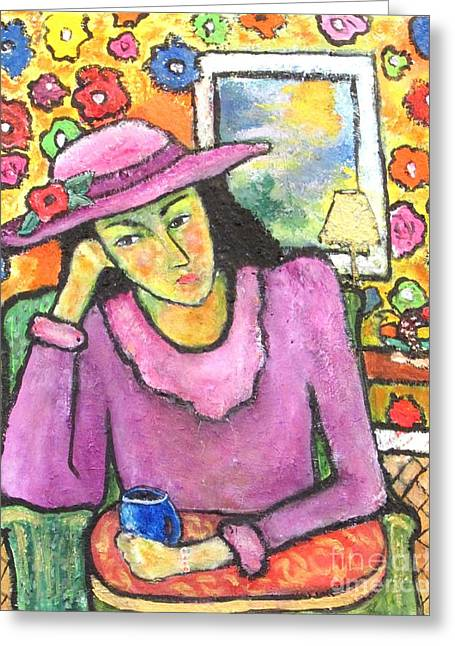 Portrait With Still Life Greeting Cards - Mademoiselle Espame Greeting Card by Chaline Ouellet
