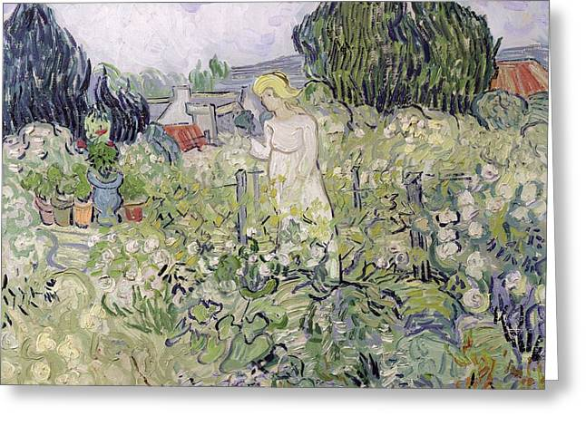 Mademoiselle Gachet In Her Garden At Auvers-sur-oise, 1890  Greeting Card by Vincent van Gogh