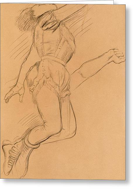 Female Figure Drawings Drawings Greeting Cards - Mademoiselle La La at the Circus Fernando Greeting Card by Edgar Degas