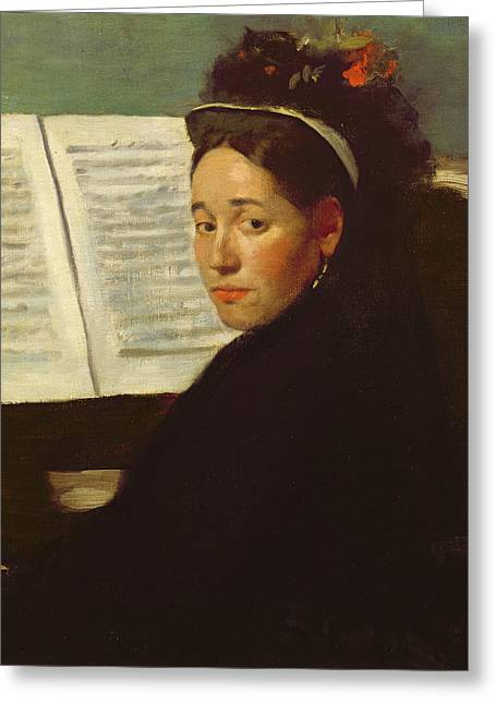 Pianist Photographs Greeting Cards - Mademoiselle Marie Dihau 1843-1935 At The Piano, C.1869-72 Oil On Canvas Greeting Card by Edgar Degas
