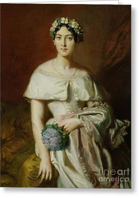 Three-quarter Length Greeting Cards - Mademoiselle Marie Therese de Cabarrus Greeting Card by Theodore Chasseriau