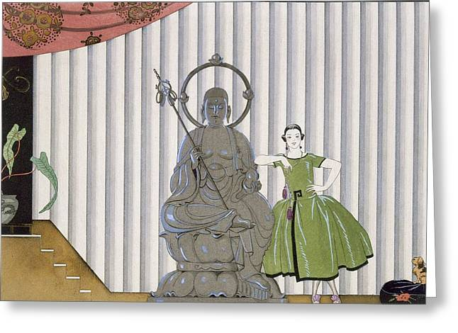 Besides Greeting Cards - Mademoiselle Spinelly Chez Elle Greeting Card by Georges Barbier