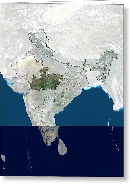Boundary Waters Greeting Cards - Madhya Pradesh, India, satellite image Greeting Card by Science Photo Library