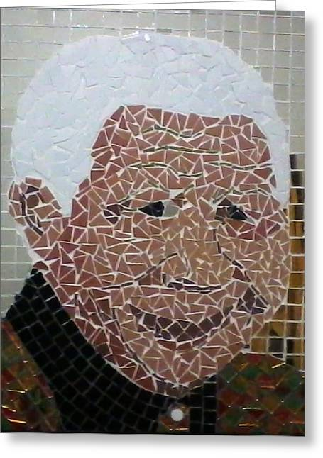 Mix Medium Glass Art Greeting Cards - Madiba by Bob Mnisi Greeting Card by Artists Mbombela