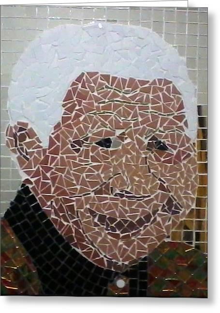 Mix Medium Glass Art Greeting Cards - Madiba by Bob Mnisi Greeting Card by Artists Mbombela