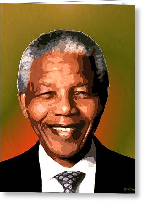 Human Rights Leader Greeting Cards - Madiba Greeting Card by Walter Oliver Neal