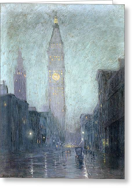 New York City Rain Greeting Cards - Madison Avenue At Twilight Greeting Card by Lowell Birge Harrison