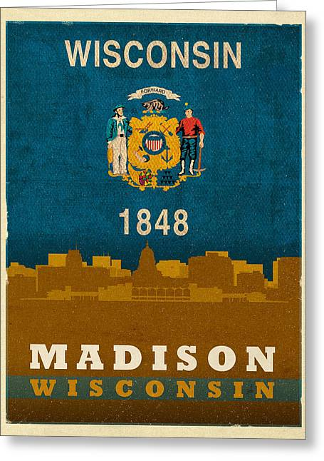 Wisconsin Art Greeting Cards - Madison City Skyline State Flag Of Wisconsin Art Poster Series 007 Greeting Card by Design Turnpike