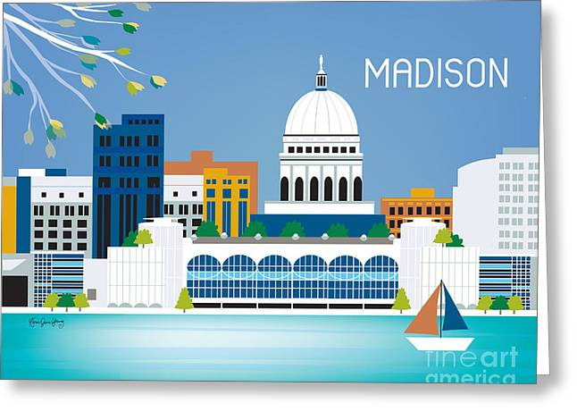 Washington D.c. Digital Art Greeting Cards - Madison Greeting Card by Karen Young