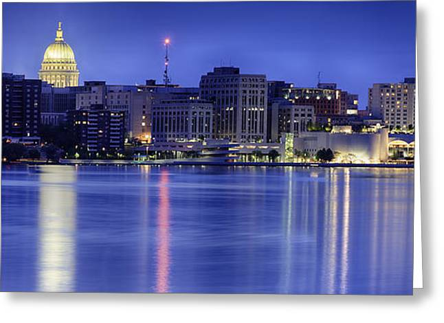 Madison Greeting Cards - Madison Skyline Reflection Greeting Card by Sebastian Musial