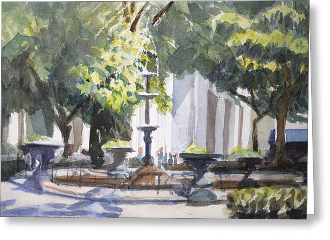 Midtown Paintings Greeting Cards - Madison Square Garden Park Fountain NYC Greeting Card by Margaret Montgomery