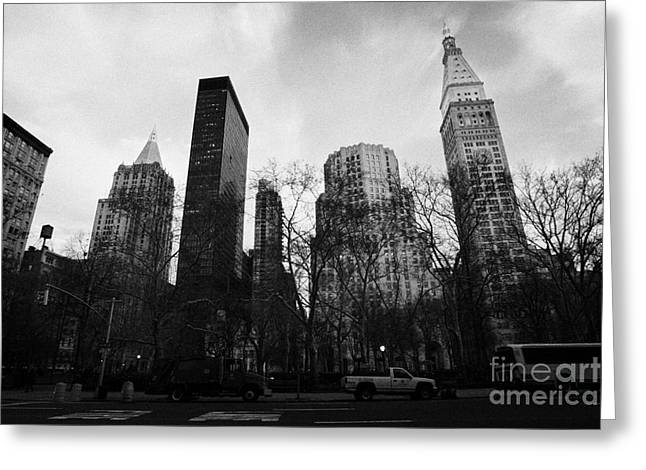 Best Sellers -  - Manhaten Greeting Cards - Madison Square Park Flatiron district new york city Greeting Card by Joe Fox