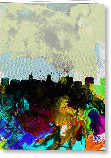 Madison Greeting Cards - Madison Watercolor Skyline Greeting Card by Naxart Studio