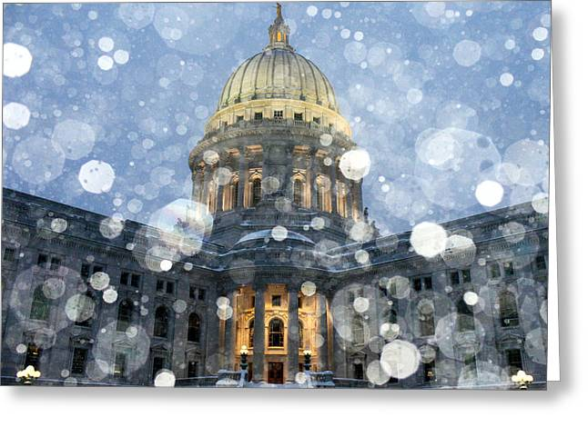 Recently Sold -  - Winter Storm Greeting Cards - Madisonian Winter Greeting Card by Todd Klassy