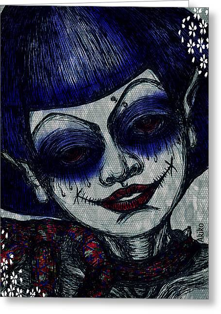 Analog Mixed Media Greeting Cards - Madness Goth Greeting Card by Akiko Kobayashi