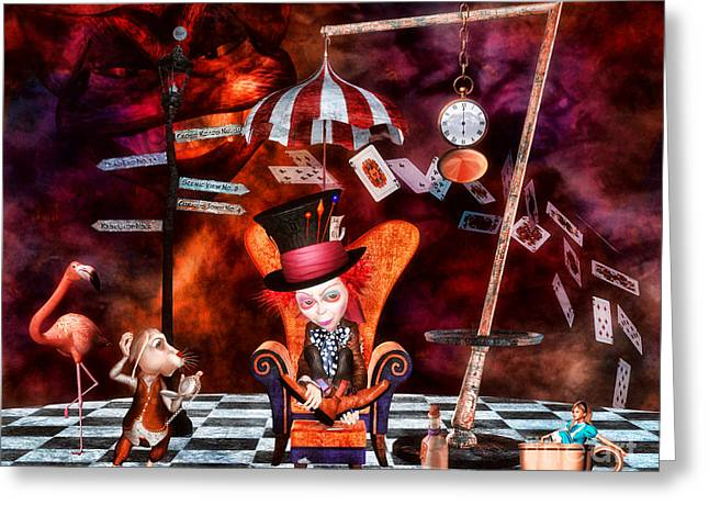 Mad Hatter Greeting Cards - Madness in the Hatters Realm Greeting Card by Putterhug  Studio