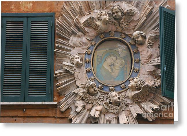 Angel Blues Greeting Cards - Madonna & Child Between Teal Blue Greeting Card by Holly C. Freeman
