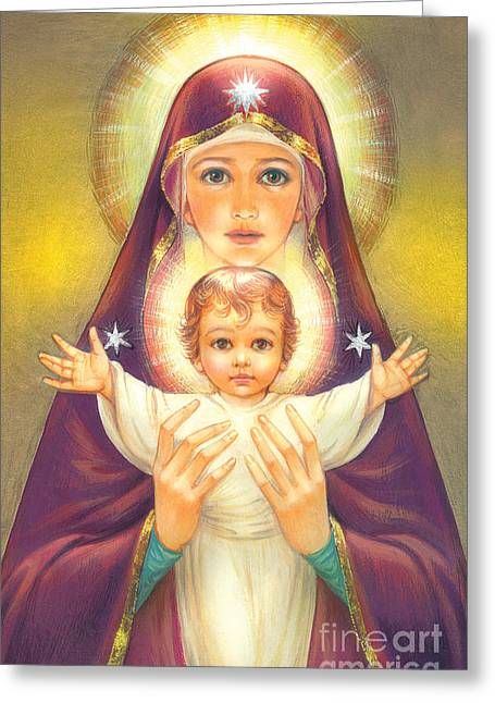 Mother Mary Digital Art Greeting Cards - Madonna and Baby Jesus Greeting Card by Zorina Baldescu