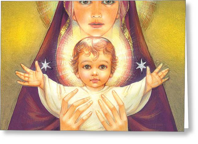 Madonna and Baby Jesus Greeting Card by Zorina Baldescu