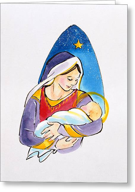 Halo Greeting Cards - Madonna And Child, 1996 Wc Greeting Card by Diane Matthes