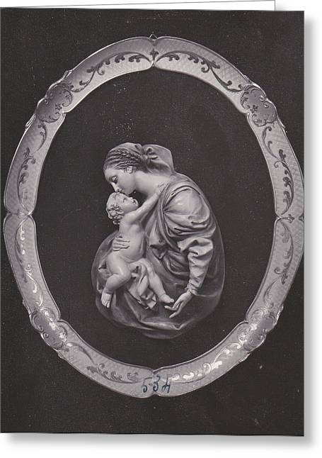 Virgin Mary Pyrography Greeting Cards - Madonna and Child Greeting Card by Allan Koskela