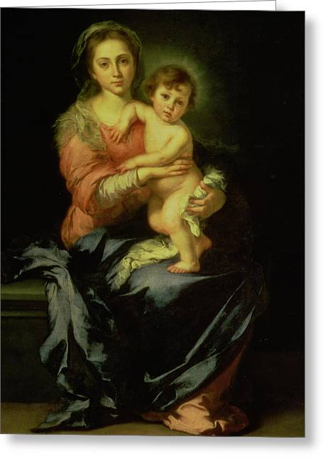 Child Jesus Greeting Cards - Madonna and Child Greeting Card by Bartolome Esteban Murillo