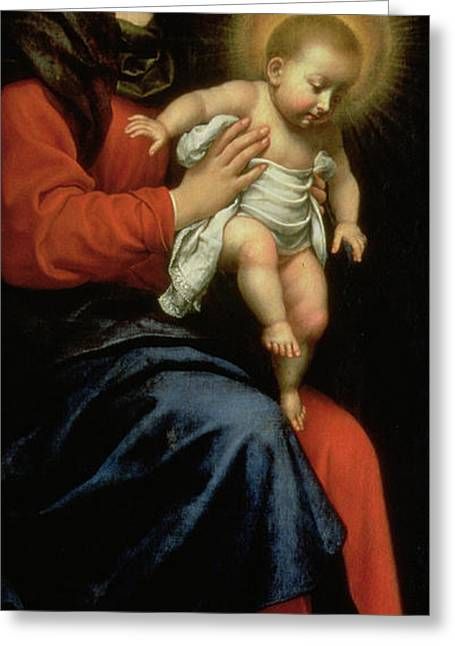 Baroque Greeting Cards - Madonna and Child Greeting Card by Carlo Dolci