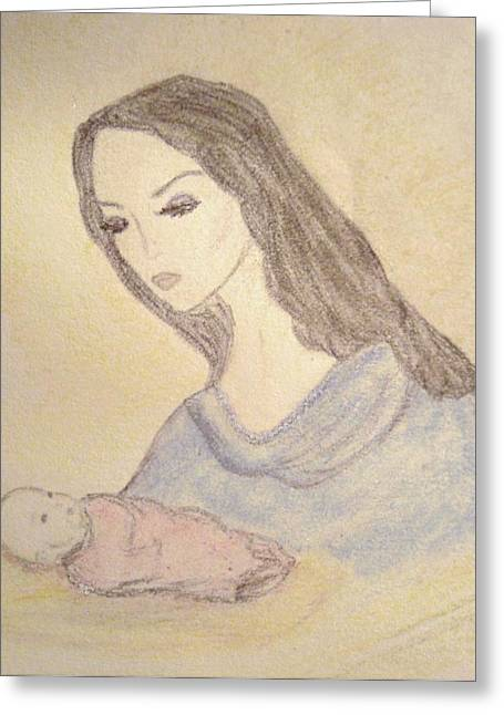 Baby Jesus Drawings Greeting Cards - Madonna and Child Greeting Card by Christine Corretti