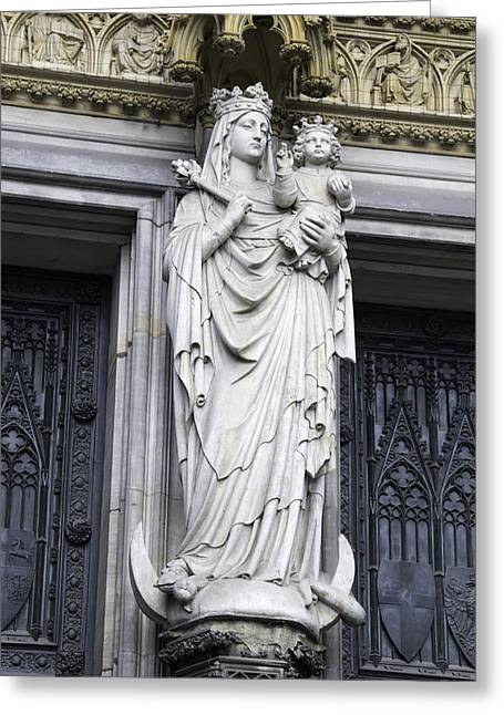 Medieval Entrance Greeting Cards - Madonna and Child Cologne Cathedral Greeting Card by Teresa Mucha