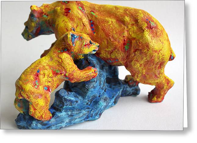 Ceramic Sculptures Greeting Cards - Madonna and Child Greeting Card by Derrick Higgins