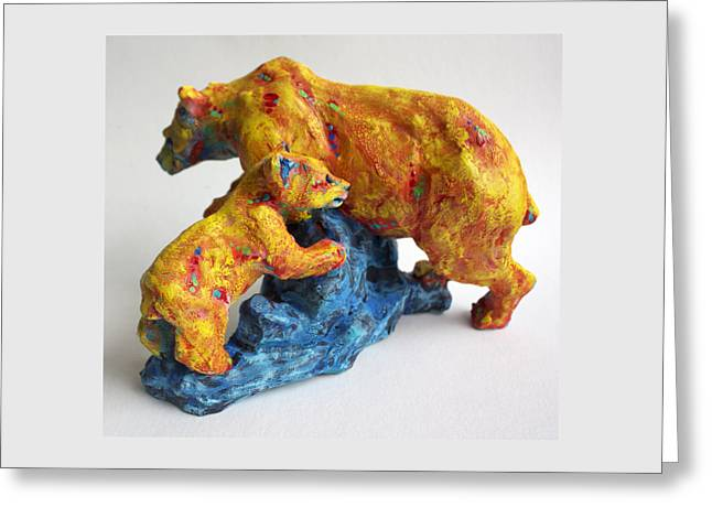 Animal Sculpture Sculptures Greeting Cards - Madonna and Child Greeting Card by Derrick Higgins