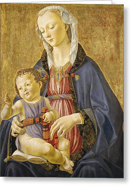 Virgin Greeting Cards - Madonna and Child Greeting Card by Domenico Bigordi Domenico Ghirlandaio