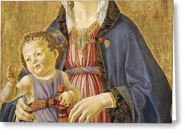 Madonna and Child Greeting Card by Domenico Bigordi Domenico Ghirlandaio