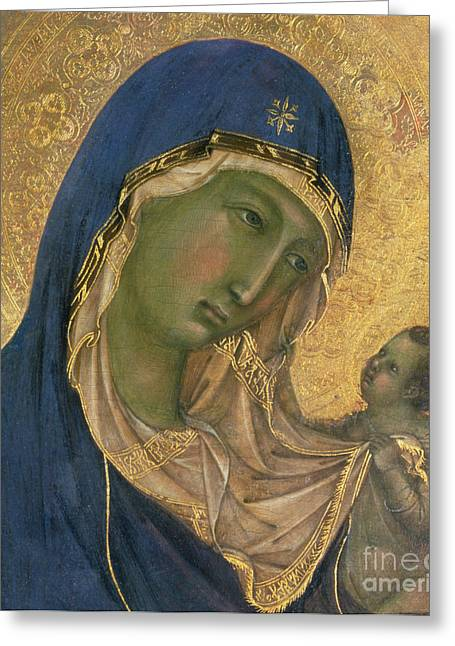 Christ Child Greeting Cards - Madonna and Child  Greeting Card by Duccio di Buoninsegna