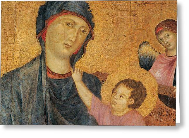 Madonna And Child Greeting Cards - Madonna and Child Enthroned  Greeting Card by Cimabue