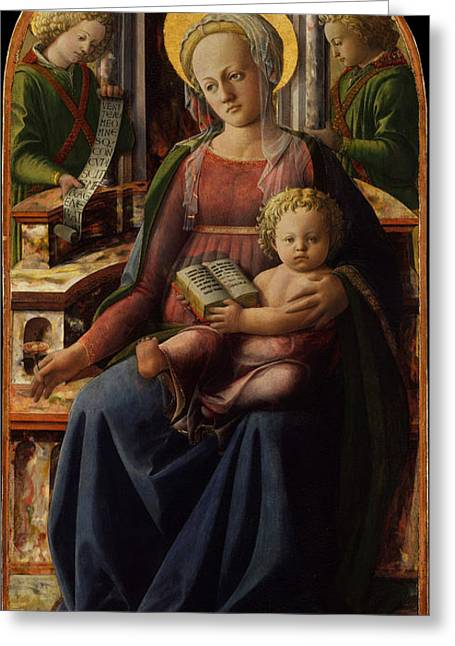 Fra Greeting Cards - Madonna and Child Enthroned with Two Angels Greeting Card by Fra Filippo Lippi