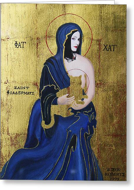 Pictures Of Cats Mixed Media Greeting Cards - Madonna and Child Greeting Card by Eve Riser Roberts