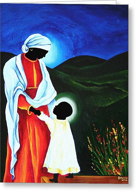 Haitian Greeting Cards - Madonna And Child - First Steps, 2008 Greeting Card by Patricia Brintle