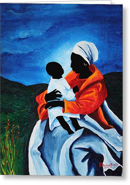 Haitian Greeting Cards - Madonna And Child - First Words, 2008 Greeting Card by Patricia Brintle