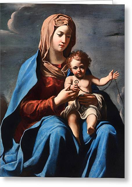 Religious work Paintings Greeting Cards - Madonna and Child Greeting Card by Francesco Cozza