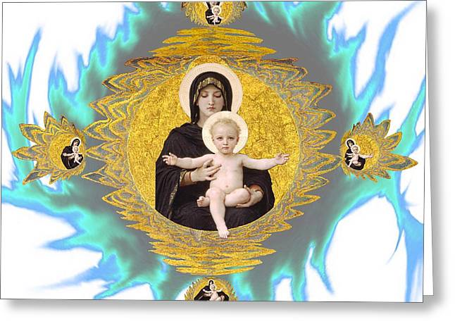 Gaia Mixed Media Greeting Cards - Madonna and Child Greeting Card by Gaia Ragu